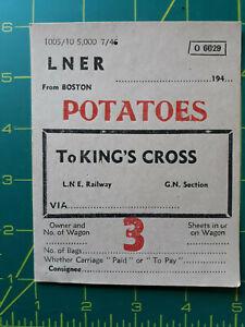 LNER Railway WAGON Label 1946 POTATOES Kings Cross
