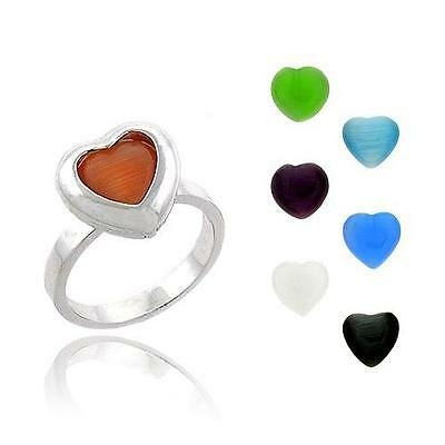 925 Silver  Interchangeable 7 Heart Cats Eye Stone Ring Set Size 7