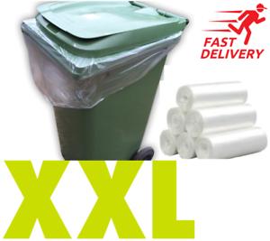 Wheelie Bin Liners Clear Strong Heavy Duty Rubbish Sack Big Refuse Bin Bags