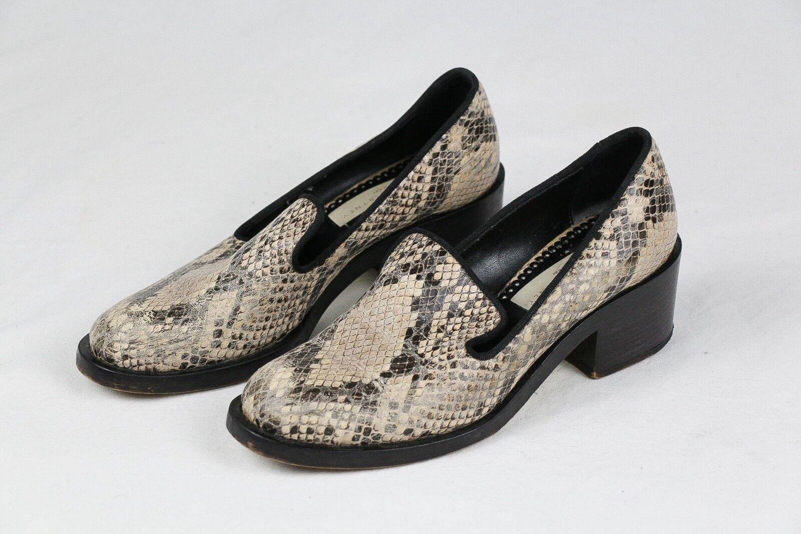 Stella McCartney Snakeskin Python Faux Leder Loafer Schuhes Block Heel Sz EU 37