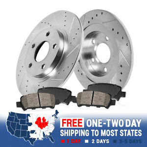 Fit Kia Hyundai Optima Sonata Front  Drill Slot Brake Rotors+Ceramic Brake Pad