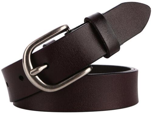 Women/'s and Teenage Girl/'s Genuine Leather Classic Metal Buckle Jean Belt