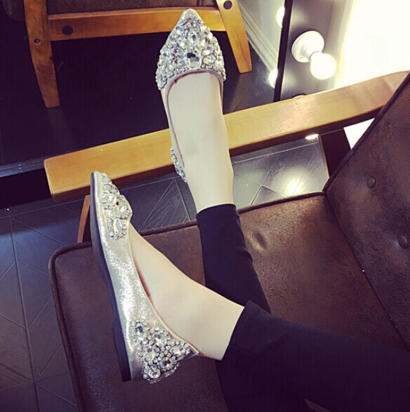 Para Mujer Cómodos Zapatos de Boda Nupcial En Punta Plana mocasines bombas antideslizante en mocasines Plana de ballet fcebce