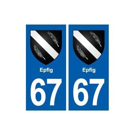 67 Epfig blason autocollant plaque stickers ville arrondis