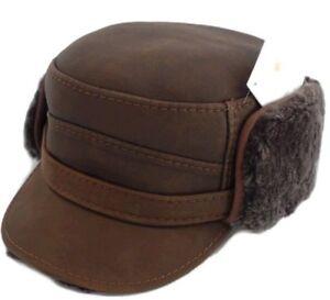 f98e00c86d4 RICARDO B.H. 100% SHEEPSKIN LEATHER CAP LARGE 58-59cm 7 1 4 BROWN ...