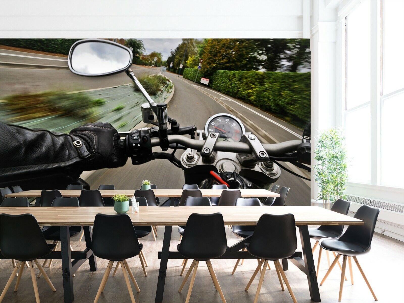 3D Schwarzes Motorrad O93 Auto Tapete Wandbild Selbstklebend Abnehmbare Angelia
