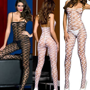 093e4bd7047 Sheer Spaghetti Strap Top Zig Zag Opaque Striped Bodystocking Body ...