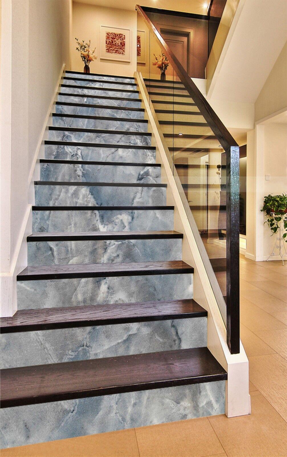3D Wasserzeichen 8 Fliese Marmor Stair Risers Fototapete Vinyl Aufkleber Tapete
