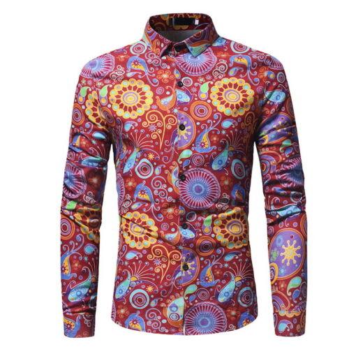 Men Casual Shirts Long Sleeve Floral Print Hawaii Shirt Slim Fit Tops