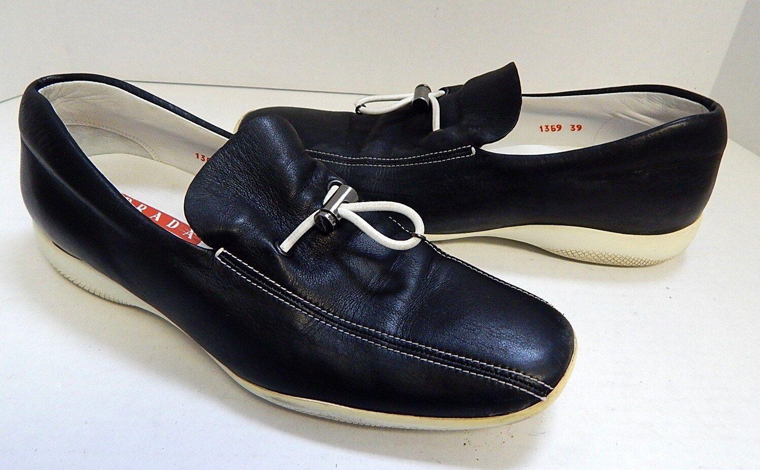 Prada 39 8.5M Navy Blau Leder Toggle Sneakers Loafers
