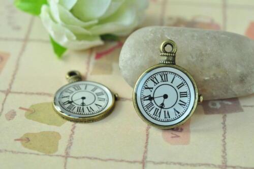 12pcs Horloge Charme Pendentif Antique Bronze Collier Accessoire Steampunk Punk Craft