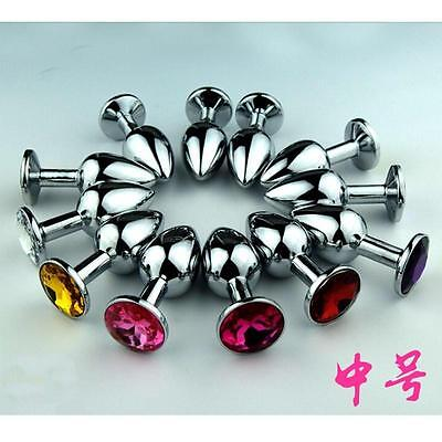 S M L Prostate-Butt-Toy-Plug-Anal-Insert-Stainless-Steel-Metal-Jewel-Sex-Stopper