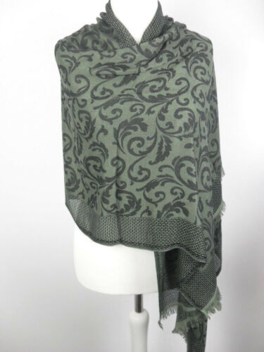 Pashmina Schal Tuch Stola Hijab Paisley 100/% Viskose Armeegrün gewebt 183x70cm