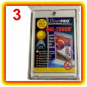 3-Ultra-Pro-ONE-TOUCH-MAGNETIC-35pt-UV-Card-Holder-Display-Case-Two-Piece-Sports