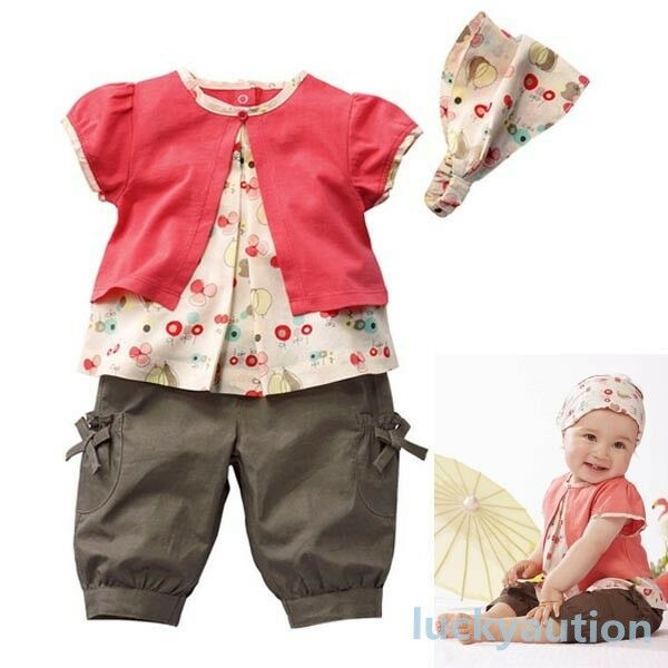 Kids Princess Girls Fruits Pattern Top+Pants+Hat Set Outfits 0-3T Clothes 3 Pcs