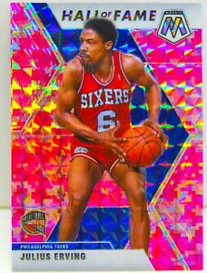 Julius Erving 2019-20 CAMO PINK MOSAIC PRIZM Hall of Fame Card #288 76ers Team