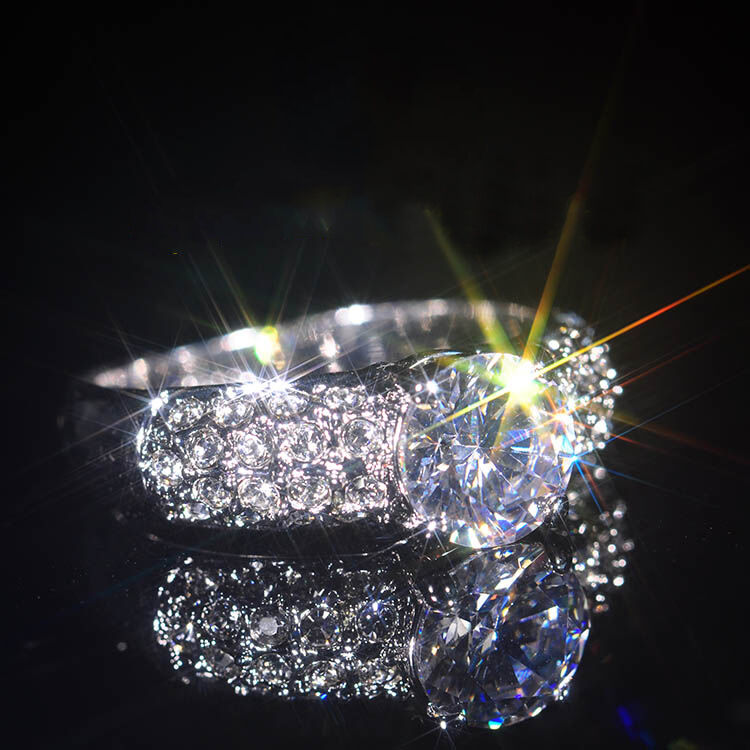 Noble Ring White Gold 18 K Pl. Crystal Engagement Ring Gift Idea Valentine's Day