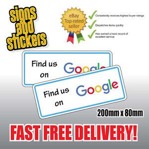 """2 Autocollants """"nous Trouver"""" Sur Google Réseau Social Business Shop Media Advertising-afficher Le Titre D'origine"""