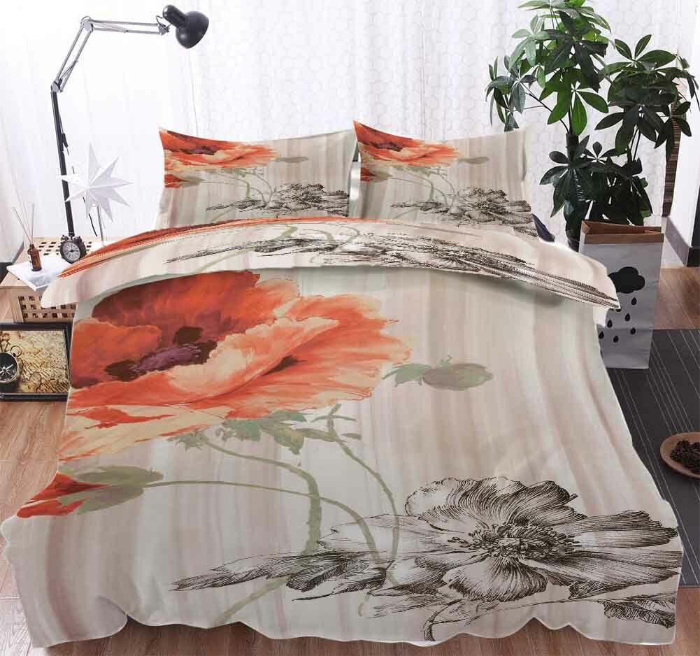 Petals Orange gris 3D impression couette courtepointe volonté des couvertures PilFaible cas literie ensembles