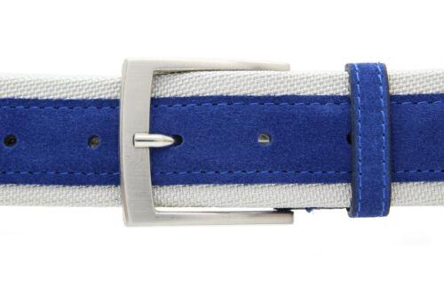Italiano de gamuza cinturón fibras de nylon caballeros señora Suede Belt azul 4cm de ancho