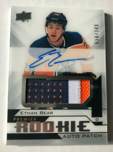 2018-19-UPPER-DECK-PREMIER-249-ROOKIE-RC-PATCH-AUTO-ETHAN-BEAR-3CL-OILERS-UD