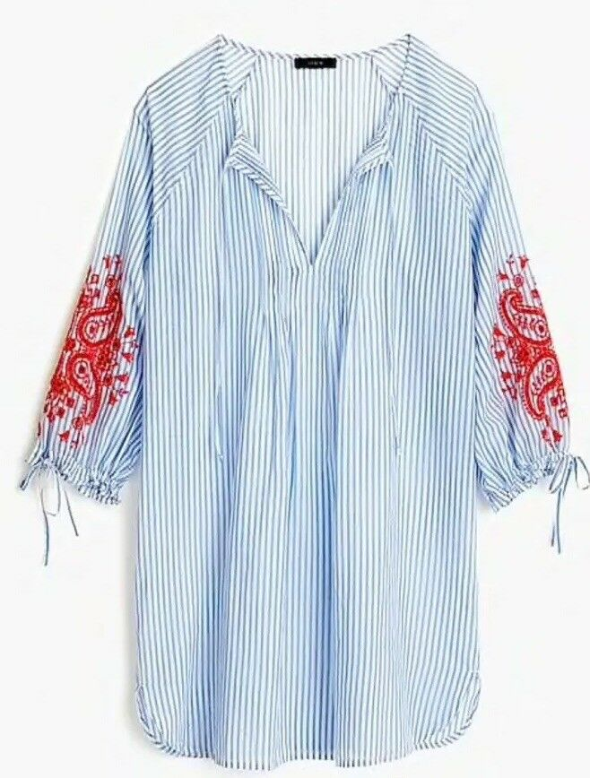 NWT J. Crew Embroiderot long-sleeve cover-up Sz L  M H8630
