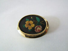 Antique Vintage Solid 14K 14KT Yellow Gold 1890s PIETRA DURA Stone Brooch Pin