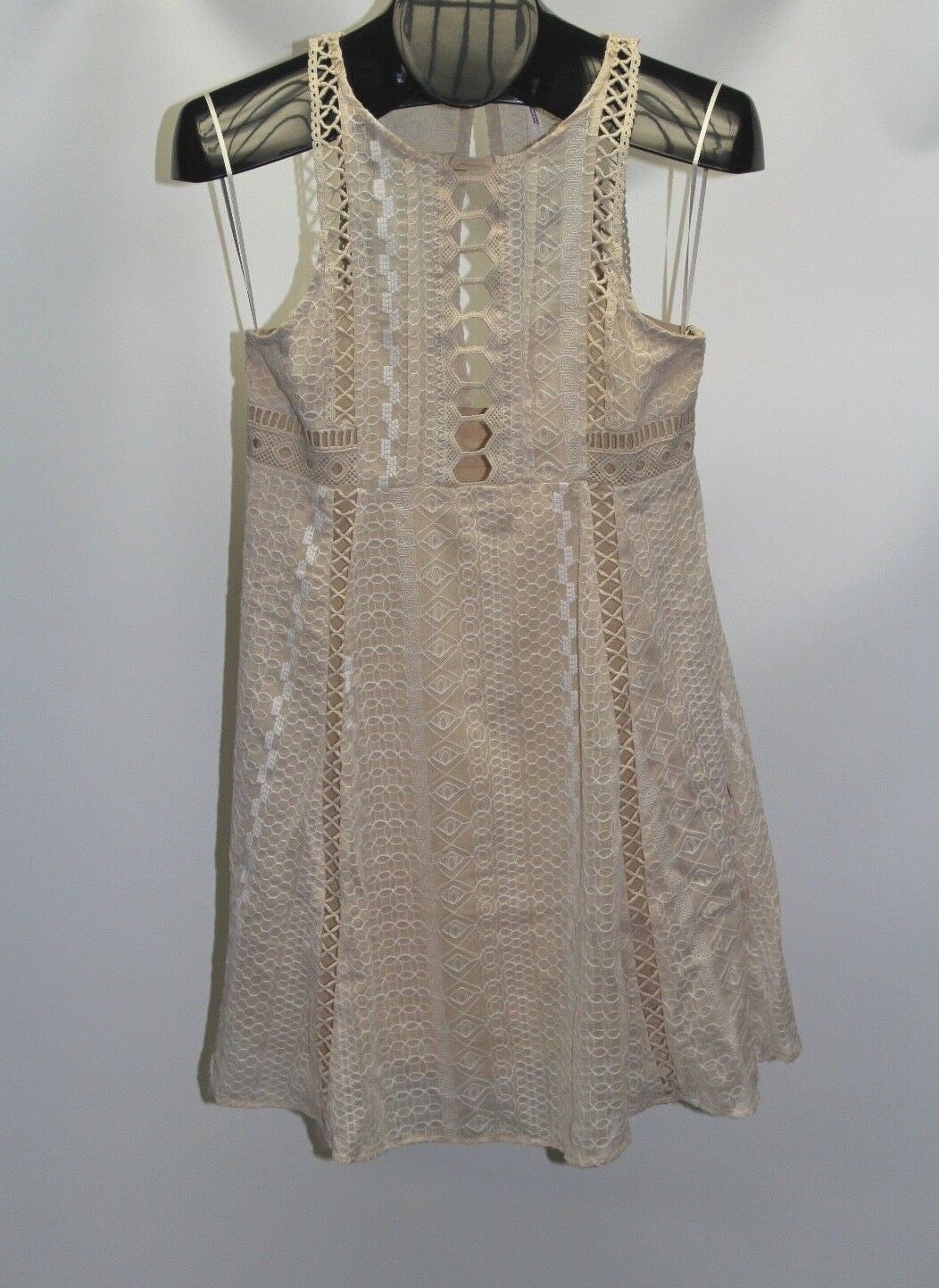 New Free People Ivory Women's Size 6 Wherever You Go Crocheted Mini Dress