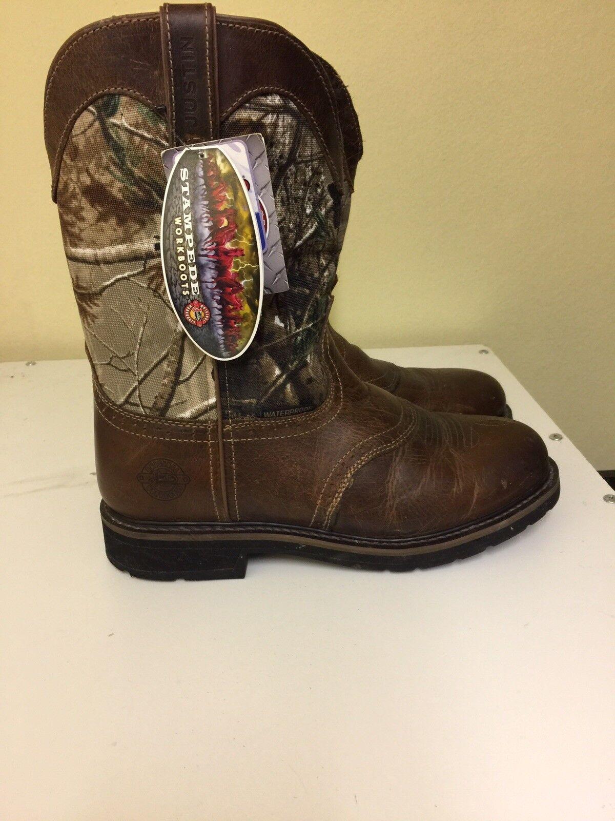 Justin Original Work Boots Stampede Round Toe Boots, Men's - Size 10.5 D, Brown