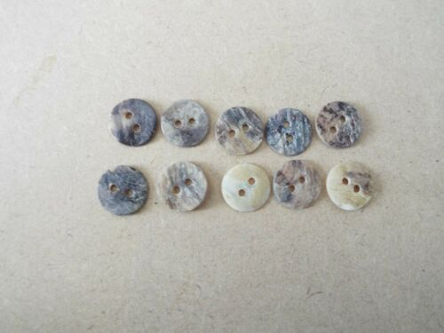 10 x Mother Of Pearl Type Buttons Natural Shades 13mm E44