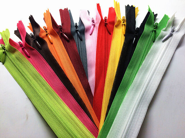 wholesale 5//10//50//100pcs mix Nylon Invisible Soft Coil Zipper Sewing 22inch 55CM