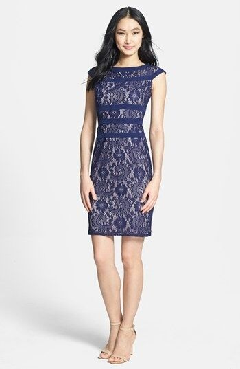 ADRIANNA PAPELL Lace Sheath Dress NAVY Size PETITE 8 NWT
