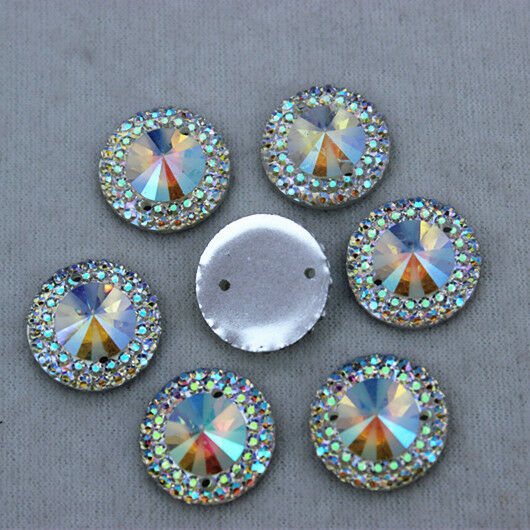 30pcs 14mm Round AB Crystal Acrylic  Flatback Rhinestone Sew on 2 Hole ZZ9
