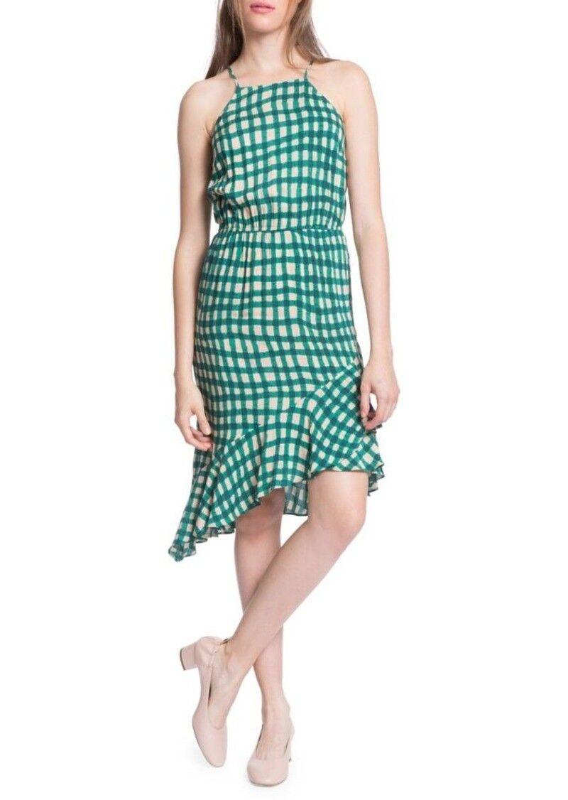 Plenty Tracy Reese Grün Asymmetrical Slip Party Dress Sz L plaid racerback NWT