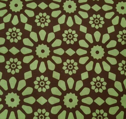 Gears BTY Unbranded Geometric Floral Pistachio Green on Brown
