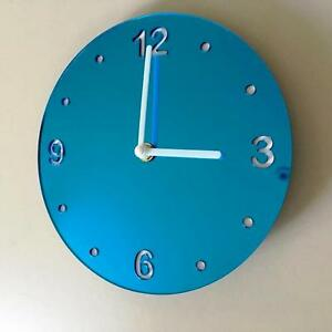 Horloge-Mural-Rond-Miroir-Bleu