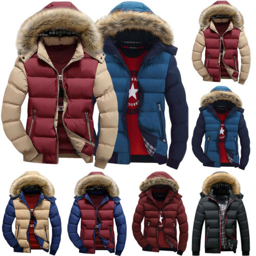 Mens Fur Hooded Padded Coat Winter Thick Warm Puffer Jacket Trench Parka Outwear