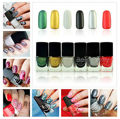 1Bottle Born Pretty 6ml Nail Art Stamping Polish Nail Stamp Varnish - 6 colors