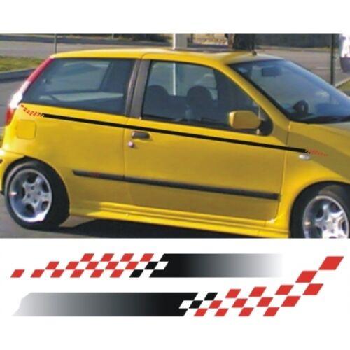 Accent 01 Strisce laterali con bandiera a scacchi per auto Adesivi per auto