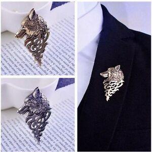 Men-Fashion-Badge-Pin-Punk-Lapel-Wolf-Brooch-Suit-Collar