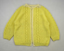 Vintage Pale Canary Yellow Fuzzy Mesh Wool Knit Cardigan Sweater Top Petite L