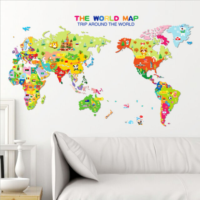 Animal World Map Wall Decal Removable Art Sticker Kids Nursery Room - World map wallpaper decal