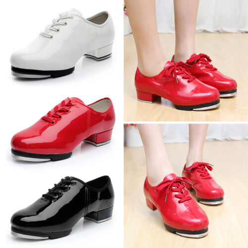 Newly Men Tap Dance Shoes Low Heel Faux Leather Dancing Shoes W//Plates 3 Colors