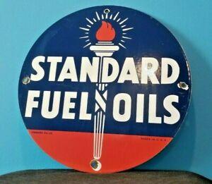 VINTAGE-STANDARD-GASOLINE-PORCELAIN-GAS-FUEL-OILS-SERVICE-STATION-TORCH-SIGN