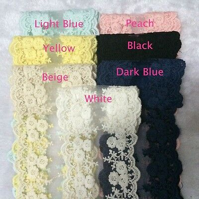 "Vintage Trim Yellow Flower//Black Embroidered 1//2/"" Wide Trim by the Yd"