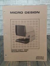 Micro Design Copy 1000 Microfiche Viewer Operating And Maintenance Instructions