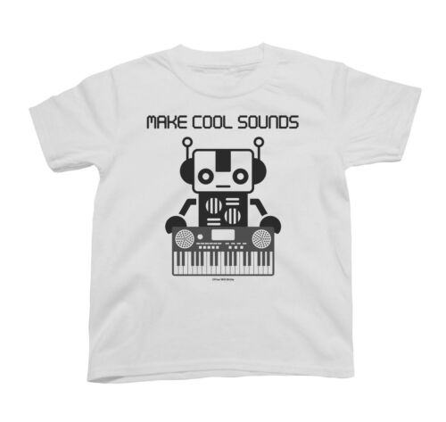 Niños hacer Cool sonidos de sintetizador Teclado Robot pianista Novedad Unisex Música T-Shirt