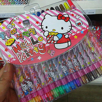 HELLO KITTY Twistables Colored Pencils Set 16 Colors Crayons Drawing