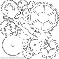 The Crafters Workshop 6 X 6 Stencil Background Mini Gears Tcw262s