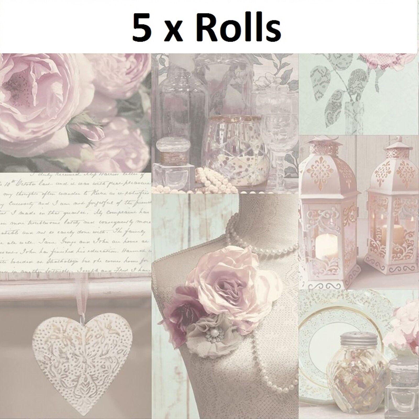 5 ROLLS CHARLOTTE blueSH HEARTS SCRIPT FLORAL FLOWERS QUALITY ARTHOUSE WALLPAPER